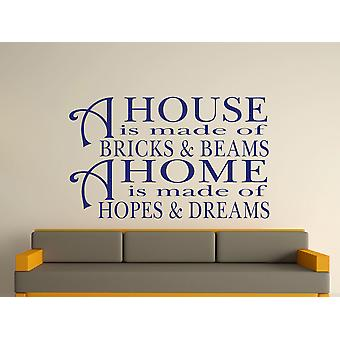A House Is Made Of Bricks And Beams v2 Wall Art Sticker - Ultra Blue