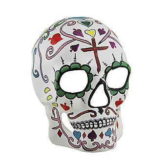 Picche e DOD colorato Sugar Skull adulto maschera intera w/Cross