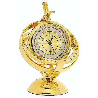 Miniature Goldtone Solid Brass Library Globe Novelty Collectors Clock IMP32