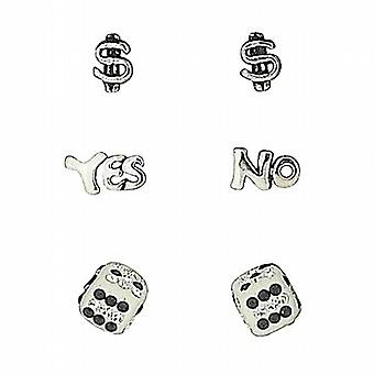 TOC Sterling Silver Dollar Sign  Yes/No & Dice Gambling Themed Studs - 3 Pairs