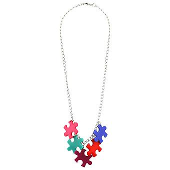5 Piece Coloured Jigsaw Necklace