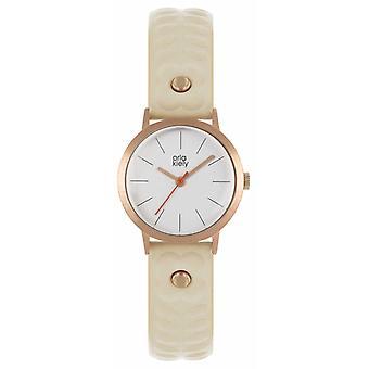 Orla Kiely | Pulseira de couro das mulheres nua | Mostrador prata | Caso de ouro Rose | Relógio OK2300