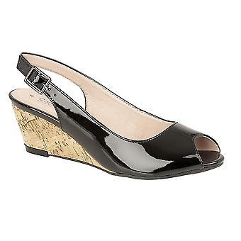 Ladies Womens Sandals Hi Shine Peep Toe Sling Back Buckle Wedge Shoes