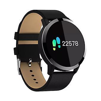 Stuff Certified® Original Q8 Smartband sport SmartWatch smartphone horloge OLED iOS Android zwart leder