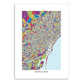 Art-Poster - Barcelona farbige Karte - Michael Tompsett 50 x 70 cm