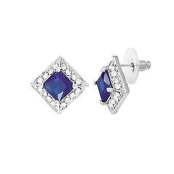 Eternal Collection Splendour Sapphire Crystal & Diamante Silver Tone Stud Pierced Earrings