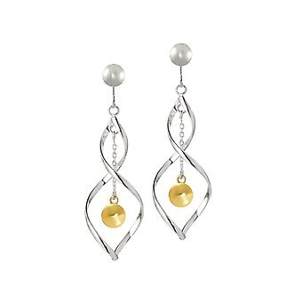 Eternal Collection Whispers 18ct Gold Vermeil And Sterling Silver Drop Clip On Earrings