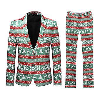 Allthemen mens elk & kerstbomen gedrukt pak tweedelig (blazer + broek)