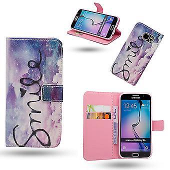 Fodral / Plånbok I Läder - Samsung Galaxy S6 - Smile