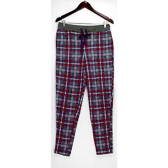 Cuddl Duds Lounge Pants, Sleep Shorts Fleece Elastic Waist Plaid Red A297368