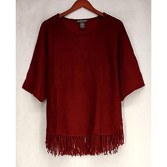 Kate Mallory Sweater Dolman Sleeved Fringe Hemline Pullover Red A405024