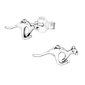 Kangaroo - 925 Sterling Silver Plain Ear Studs - W20517X