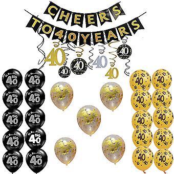 TRIXES 40th festa de aniversário coleção decoração preto e ouro tema
