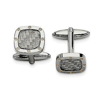 Stainless Steel Yellow IP-plated Polished and Carbon Fiber With IPG Cuff Links