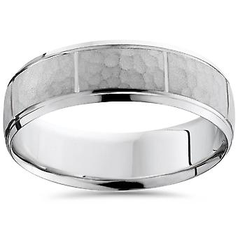 Hammered Mens 7mm Wedding Band 10K White Gold