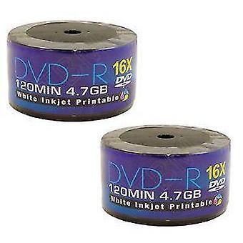 100 DVDs AONE DVD-R 16 X schreiben Rohlinge FF weiß Inkjet Printable (Twin 50 Spindel/Cake Box)