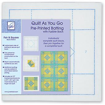 Quilt As You Go Printed Quilt Blocks On Batting-Fair & Square JT1402