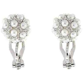 Clip On Earrings Store Silver and Pearl Ball Drop Clip on Earrings