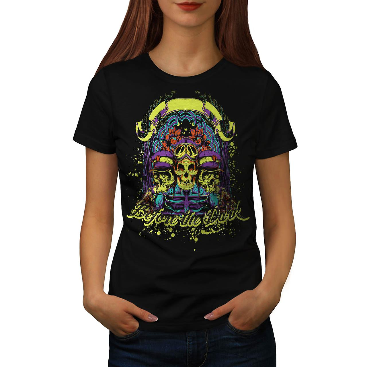 Before Dark Zombie Skull Ride Women Black T-shirt | Wellcoda