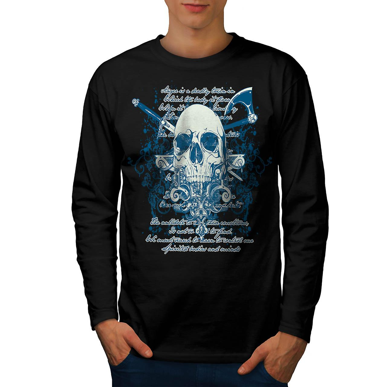 Death Skull Script Monster Death Men Black Long Sleeve T-shirt | Wellcoda