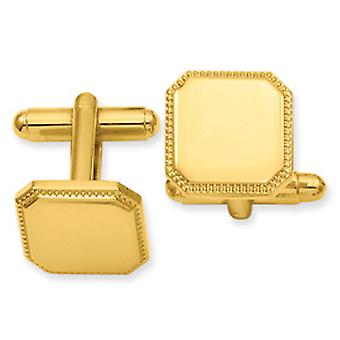 Gold-Flashed Solid Polished Gift Boxed Engravable (front only) Square Beaded Cuff Links