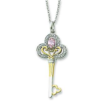 Sterling Silver and Gold-plated Oct. CZ Key 18inch Necklace