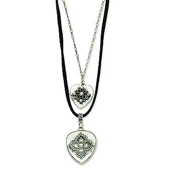 Silver-tone Double Hearts With Clear Crystal 16inch w Ext Necklace