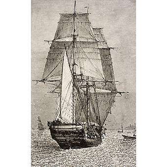 The Brig Hms Beagle From Journal Of Researches By Charles Darwin Published By Nelson & Sons 1890 PosterPrint