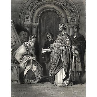 Henry Ii Presenting The Popes Bull To The Archbishop Of Cashel Drawn By HWarren Engraved By G Greatbach PosterPrint