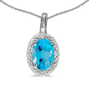 10k White Gold Oval Blue Topaz And Diamond Pendant with 18