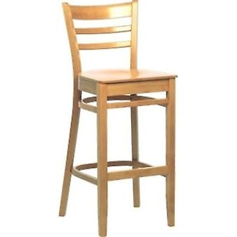 Tania Beech Kitchen Breakfast Stool With Back Fully Assembled
