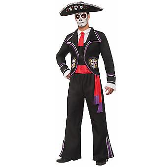 Day Of The Dead Mariachi Skulls Skeleton Mexico Spanish Tuxedo Men Costume