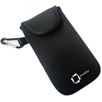 InventCase neopreen Slagvaste beschermende etui gevaldekking van zak met Velcro sluiting en Aluminium karabijnhaak voor Motorola Moto G4 Plus -zwart