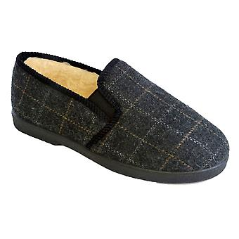 SlumberzzZ Mens Faux Fur Lined Stitched Check Closed Slipper