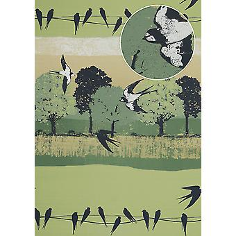Bird wallpaper Atlas SIG-385-5 non-woven wallpaper smooth with landscapes and metallic accents green pale green graphite grey gold 5.33 m2