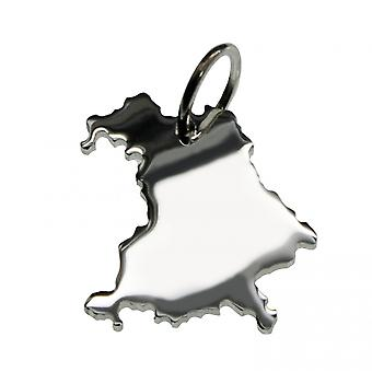Trailer map Bavaria pendant in solid 925 Silver
