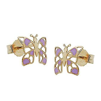 Golden studs plug earrings Butterfly purple enamelled 9 KT gold 375