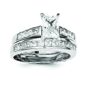 キュービックジルコニア 2 ピース結婚式を洗練された純銀製リング - 指輪のサイズを設定: 6 に 8