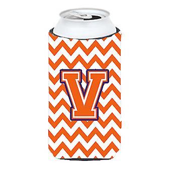 Letter V Chevron Orange and Regalia Tall Boy Beverage Insulator Hugger