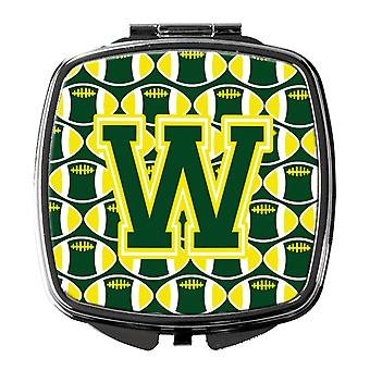 Letter W Football Green and Yellow Compact Mirror