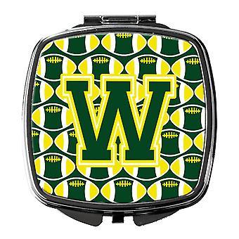 Lettre W Football vert et jaune Compact miroir