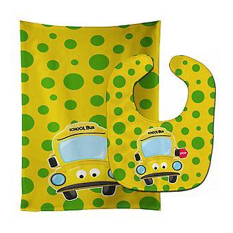 Carolines Treasures  BB9026STBU Back to School Bus #2 Baby Bib & Burp Cloth