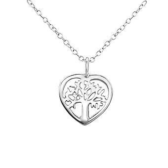 Træ i hjertet - 925 Sterling Sølv Plain halskæder - W23025X