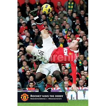 Manchester United Rooney but affiche Poster Print