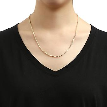 10k Yellow Gold Solid Diamond Cut Rope Chain Necklace, 2mm
