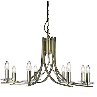 Ascona Antique Brass And Glass Eight Light Ceiling Light - Searchlight 4168-8ab