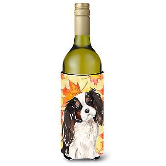 Tricolor Cavalier Spaniel Fall Wine Bottle Beverge Insulator Hugger