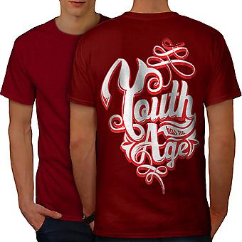Youth Has No Age Slogan Men RedT-shirt Back | Wellcoda