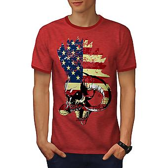 USA Flag Metal Punk Skull Men Heather Red / RedRinger T-shirt | Wellcoda