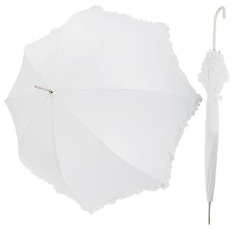 Womens/Ladies White Wedding Umbrella With Frill Trim